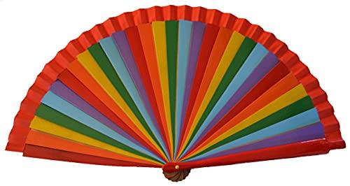 FN47 Diseño de arco iris Abanico flamenco español Abanico plegable Ventilador de mano Ventiladores de bambú Abanico español Abanico Bailarines Flamencos arcoíris