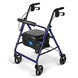 in budget affordable Medline Walker, with seat, 6 inch foldable rollerball walker, blue
