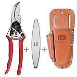 Felco 11 + Lederträger 910+ und Schleifstein 903 Hochleistungs- Baum- und Gartenschere