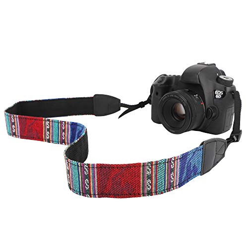 MoKo Tracolla Fotocamere Universali Fuji, Olympus, Panasonic, Pentax, Sony in Cottone Canvas Resistenza 10Kg,Cinturino Regolabile, Cinturino a Tracolla per Videocamera - Bohemia Blue