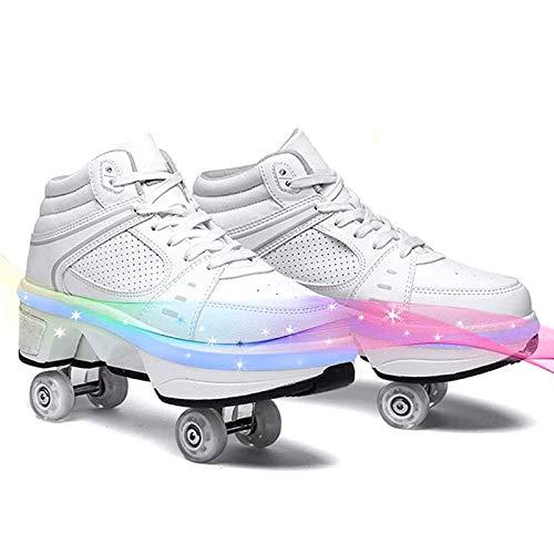 JZIYH Rollschuh Roller Skates 2 in 1 Mehrzweckschuhe Schuhe Mit Rollen Skateboardschuhe, Verstellbare Quad-Rollschuh Stiefel Skateboardschuhe Mit LED-Beleuchtung,Weiß,34