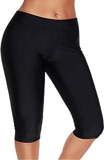 Calflint Womens Mid Waist Rash Guard Pants Crop Swim Leggings Unitard Tankini Capri