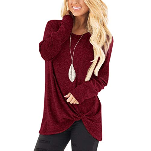 Autumn and Winter Women's Long-Sleeved T-Shirt Casual Loose Twisted Top