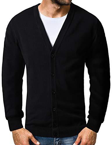 Matchstick Cardigan Maglione Cotone Uomo Scollo a V #Z1522(1522 Nero(Black),Tag Size M(IT XS))