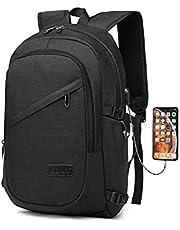 Kono Laptop ryggsäck med USB företagsdator Notebook stöldskydd ryggsäckar dagväska väska passar 15,6 tums bärbar dator för arbete college 21L, Svart (Svart) - E6715