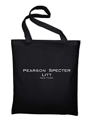Styletex23 Pearson Specter Litt Suits Fan Logo Jutebeutel Baumwolltasche, schwarz