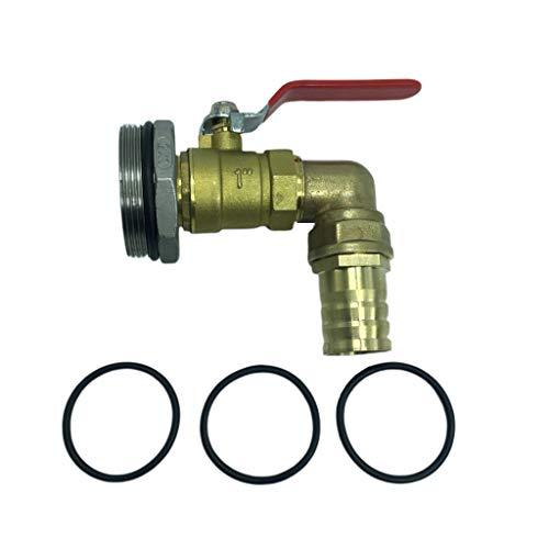 Sharplace DN50 Ton Adaptador de Válvula de Barril Válvula de Cobre para 200 / 210L 50 Galones - 32mm, D 90°