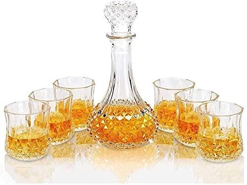 Casual Vodka Decanter 7-PC Glass 800ML Botella 6 Tazas Whisky Beer Beer Wine Liquor Spirit Scotch Home 13.3X26.5CM MUMUJIN