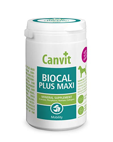 Canvit Biocal Maxi Calcium Tablets For Dogs Mineral Dog Food Supplement for Healthy Joints Tendons and Teeth for Growing Ageing and Teething Dogs Helps Formation of New Bone Tissue. (76 Tablets)