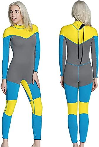 Wetsuits für Frauen, Damen-Ganzkörper-Tauchanzug, 3mm thermische Neopren-Neoprenanzüge, zum Tauchen Surfen Schnorcheln von UPF 50+ (Size : S)