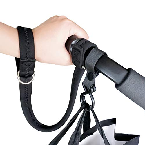 Baby Stroller Pram Wheelchair Safety Wrist Strap or Short Leash for Dog with Stroller Hook (Black)