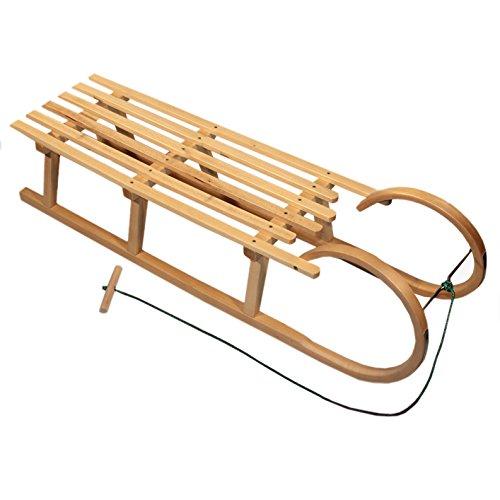 BambiniWelt Houtslee met trekkoord, hout, metalen glijden, 120 cm, 2 personen