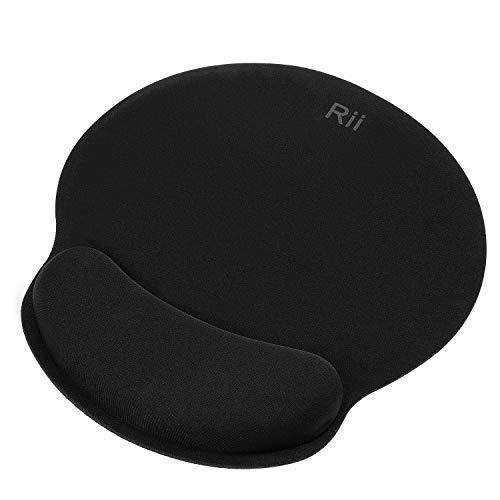 Rii JP600 Almohadilla para rat贸n con reposamu帽ecas. Almohadilla para Gaming ergon贸mica con Soporte de Gel para la mu帽eca. Base de PU Antideslizante