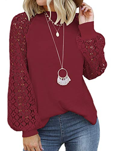 Auxo Mujer Linterna Manga Larga Encaje Tops Cuello Redondo Casual Suelto Color Sólido Base Camiseta Talla Grande Blusa Túnica 04-Rojo S
