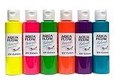 Aqua Flow Airbrush Fluorescent Color Kit for, Fabric, Leather Color Paint Set, 2 oz. Bottles