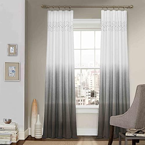 "Vue Arashi Rod Pocket Curtains for Living Room, Single Panel, 52"" x 84"", Grey"