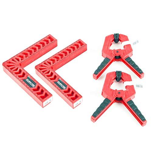 コーナー クランプ L型 直角定規 固定90度 4点セット 固定クランプ付き 木工 圧着 溶接 切断 DIY工具 4点セット 200×200mm