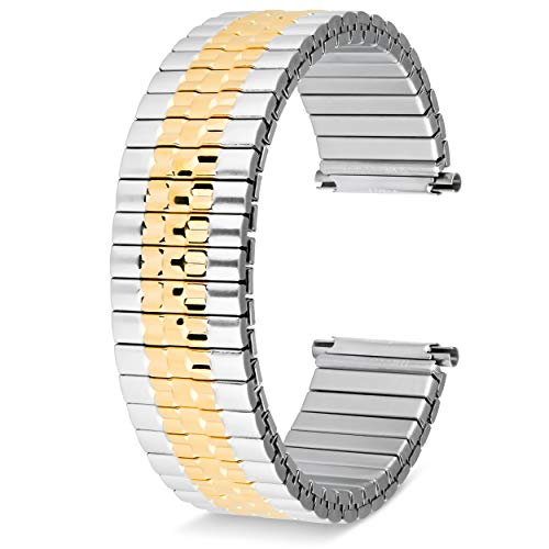 United Watch Bands Expandable Choice of Colors Yellow Gold-Tone - Stainless Steel or Two Tone Watch Band for Men Universal Fit 16-22MM Watch Band  Includes 2 Spring Bars