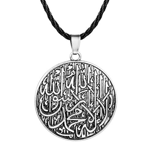 KONZFK collarAmuleto Vikingo Collar Femenino Hombre Lobo dragón árabe símbolo eslavo joyería Mal de Ojo Retro Punk Colgante Collar Regalo