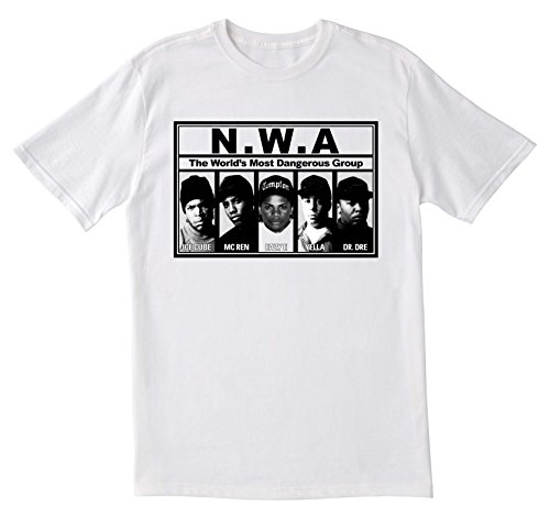 Indy Designs NWA T-Shirt, Dr Dre Vintage T-Shirt, Ice Cube T-Shirt, GPO Group Exclsuive, NWA Straight Outta Compton T-Shirt, Unisex T-Shirt, Casual T-Shirt, Größe M, Weiß