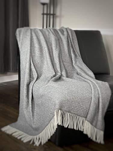 Eikei Wool Throw Blanket Geo Diamond Pattern Oversized Couch Throw Blanket Fringe Trim Soft Merino Woolen Afghan Minimalist Style Lightweight Machine Washable (Charcoal, 55Wx78L)