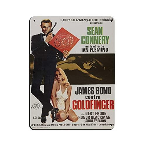 James Bond 007 Goldfinger The Film Tin Sign Vintage Metal Pub Club Cafe Bar Home Wall Art Poster Decorazione Retro 30 × 40 cm