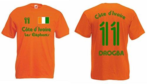 Fruit of the Loom Elfenbeinküste T-Shirt mit Wunschname und Wunschnummer Trikot|o-m