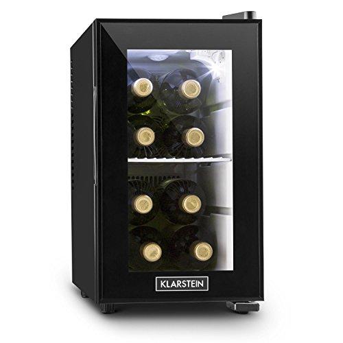 Klarstein Beerlocker S - Mini Kühlschrank, Getränkekühlschrank, 21 Liter, doppelt isoliert, 1 Metalleinschub, LED-Innenbeleuchtung, freistehend, 70 Watt, seitliche Griffmulde, schwarz