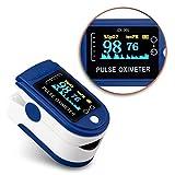 NAmobile Pulsmessgerät Finger Puls Oximeter Blut Sauerstoff Sättigung SpO2 Herzfrequenz, Farbe:Blau - Weiss