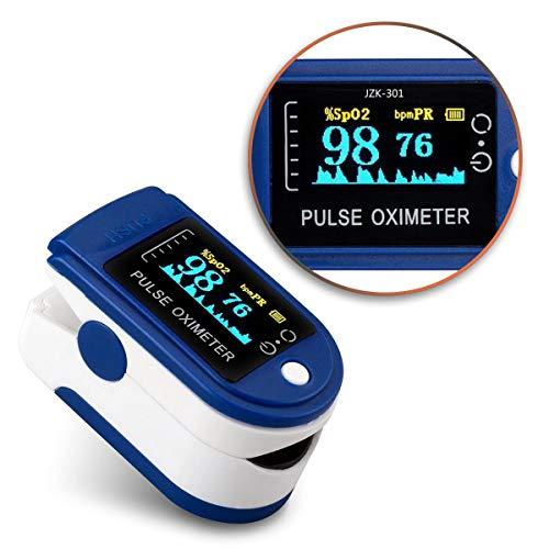 NAmobile Pulsmessgerät Oximeter Blutdruckmessgerät Finger OLED Puls SpO2 Blut Sauerstoff, Farbe:Blau - Weiss