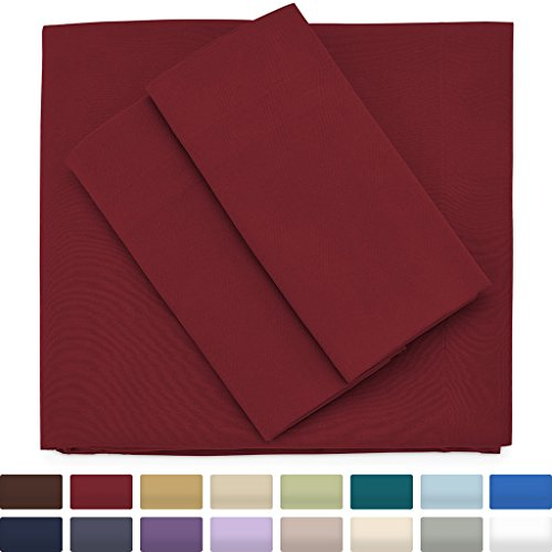 Cosy House Collection Premium Bamboo Sheets - Deep Pocket Bed Sheet Set - Ultra Soft & Cool Bedding - Hypoallergenic Blend from Natural Bamboo Fiber - 4 Piece - Full, Burgundy