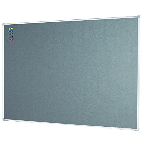 Lockways Felt Bulletin Board - Message Notice Board 48 x 36, Slimline Silver Aluminium Frame U12267762709 (4 X 3, Grey)