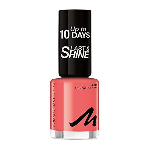 Manhattan Last und Shine Nagellack, Nr.420 Coral Glow, 1er Pack (1 X 10 ml)
