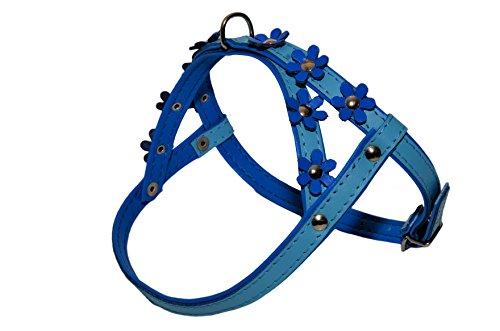 Bébé Bleu Avec Doublure Bleu et Bleu Fleurs Daisy couleur Harnais pour chien Puppy Fleur Daisy Étui à rabat en cuir souple rembourré