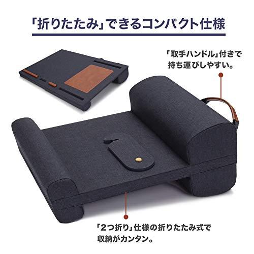折りたたみ膝上テーブルPCクッションテーブルベッドテーブルマウスパッド付持ち運び可能ノートパソコンタブレット用ラップトップデスクパソコンデスクPCデスクひざ上ラップトップデスクテレワーク(ネイビー)