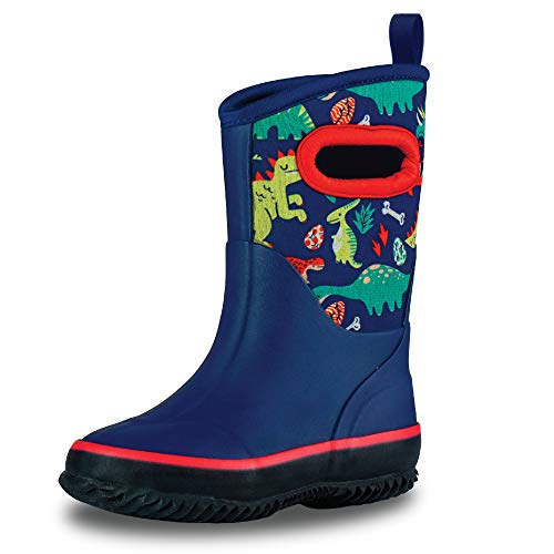 LONECONE Insulating All Weather MudBoots for Toddlers and Kids - Warm Neoprene Boots for Snow, Rain, and Muck - Puddle-a-Saurus Dinosaur, 6 Toddler