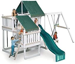 CONGO Monkey Playsystem #2 with Swing Beam - White and Sand Low Maintenance Play Set - Green Accessories
