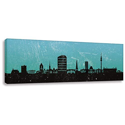 Leinwandbild/Kunstdruck Skyline Dortmund Türkis (div. Größen) Bild fertig auf Keilrahmen Art Gemälde Leinwand Wandbild Bilder (40x120cm)