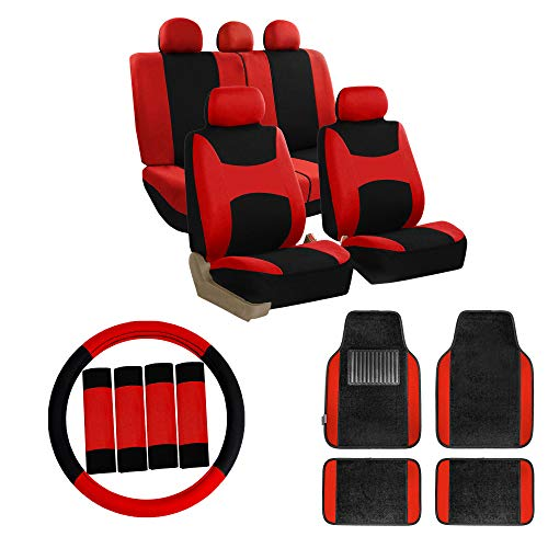 FH Group FB030115 Combo Set: Light & Breezy Cloth Seat Cover Set + F11300BLACK Floor mats, Red/Black- Fit Most Car, Truck, SUV, or Van
