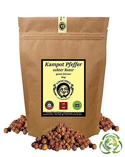 Uncle Spice roter Kampot Pfeffer - 60g Kampot Pfeffer rot - Premiumqualität - ganze sonnengetrocknete Pfefferbeeren, echte rote Pfefferkörner ganz, handverlesen für die Mühle