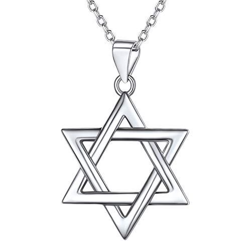 PROSTEEL Jewish Jewelry Women Pendant Necklace Teens Bat Mitzvah Gift Israel Judaica Hanukkah Hebrew Sterling Silver Magen Star of David