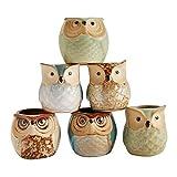 Fenteer Owl Pot Ceramic Flowing Glaze Base Serial Set Maceta para Plantas Suculentas Maceta para Plantas de Cactus Maceta para Macetas para Macetas Macet
