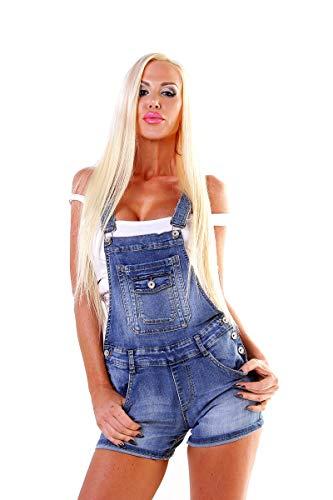 OSAB-Fashion 4705 Damen Latzjeans Latzshorts Latzhose Hotpants Jeans Shorts Jeansshorts Kurze Hose