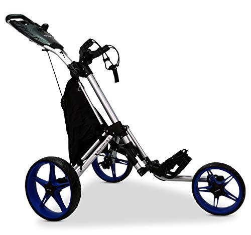 tour-made RT-140 3-Rad Golf Push Trolley Pushtrolley Golftrolley 3-Rad (Silber-blau)