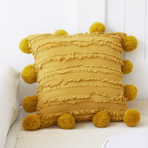 Funda de cojín con pompones bohemios, amarillo y beige, 45 x 45 cm, para cama, sofá, casa