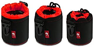 Hermitshell DSLR Camera Drawstring Lens Pouch Soft Bag Cover Metal Clip Size S M L XL Fits Sony Canon Nikon Pentax Olympus Panasonic Lens Color: Black+Red Size: 3 in 1(S + M + L)