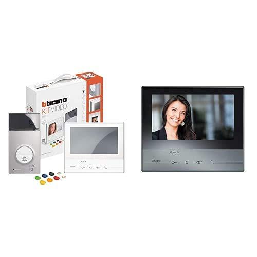 Bticino 363911 Kit Vivavoce Monofamiliare, Bianco + 344643 Videocitofono Classe 300 X13E con WiFi, Grigio