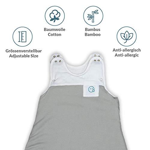 VABY – Baby Schlafsack, OEKO-TEX ®, aus Baumwolle und Bambus, Ganzjahres Schlafsack, Babyschlafsack verstellbar, für Neugeborene bis zu max. 2 Jahren, mitwachsend, Junge und Mädchen, 2.5 TOG (Grau) - 7