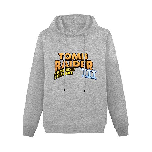 Tomb Raider III Adventures of Lara Croft Pullover Hoodies Classic Sweatshirts Hoodies with Kangaroo Pocket Hoody Gray XL