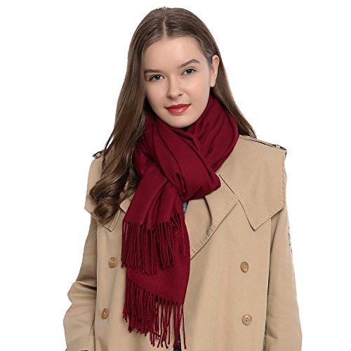 DonDon Damen Schal einfarbig weich 185 x 65 cm dunkelrot